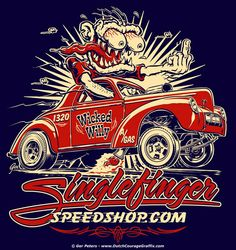 """Wicked Willy"" - Willys Gasser T-shirt artwork for Singlefinger Speed Shop #drag #racing #Willys #gasser #coupe #monster #weirdo #Tshirt #artwork"