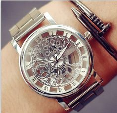 Luxury Stainless Steel Skeleton Watch Steampunk Wristwatch