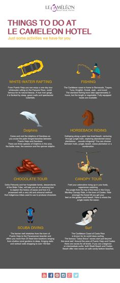 Do you know whar are the best things to do at our Hotel?  Here is our new #Infographic about what to do in Puerto Viejo!    #Thingstodo #LecameleonStyle #PuertoViejo