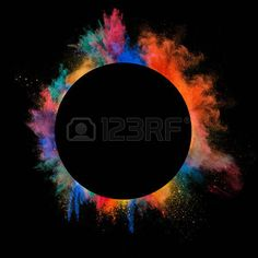 splatter circle: Freeze motion of colored dust explosion in circle shape, isolated on black background Dust Explosion, Circle Shape, Freeze, Royalty Free Images, Black Backgrounds, Stock Photos, Color, Colour, Colors