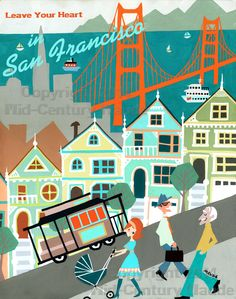 San Francisco Mid Century Modern 20 x 26 inch Poster Art Print Retro Vintage Look, teal burnt orange by MidCenturyMaude on Etsy https://www.etsy.com/listing/181540981/san-francisco-mid-century-modern-20-x-26