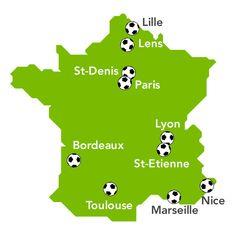 Mapa de los Estadios de la UEFA 2016 Voyages-sncf.com