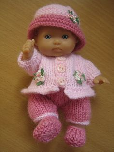 Knitting Pattern for 5 8243 Berenguer Dolls Clothes Knitting pattern to make your own 5 Berenguer doll outfit Uses 2 straight needles and 4 ply y Knitting Dolls Clothes, Baby Doll Clothes, Crochet Doll Clothes, Knitted Dolls, Doll Clothes Patterns, Crochet Dolls, Barbie Clothes, Doll Patterns, Crochet Baby