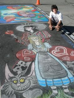 So far the best chalk art I have ever done. I have been doing some chalk arts annually around the of July in my community for about 8 years, but hav. Alice In Wonderland Chalk Art Seen Graffiti, Street Art Graffiti, Adventures In Wonderland, Alice In Wonderland, Chalk Photography, Queen Alice, Sidewalk Chalk Art, Best Street Art, Chalk Drawings