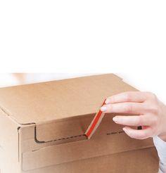 Auspacken. Einfach, bequem. • Der rote Aufreißfaden öffnet das Paket. Ganz mühelos. Das freut die Kunden und auch den, der es verschickt. • #ColomPac®, #Dinkhauser Kartonagen Vertriebs GmbH #Versandverpackung