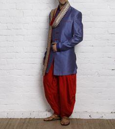 Blue Silk Indo- Western Sherwani Blue Sherwani c9c0a8297c5