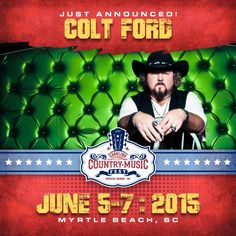 He was nominated for Artist of the Year-Breakthrough Artist! Carolina Country Music Festival has just announced Colt Ford to the line up! Get your tickets  and book your stay here: http://www.visitmyrtlebeach.com/things-to-do/events/carolina-country-music-festival/
