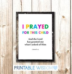 I prayed for this child -  $5.00, via Etsy.
