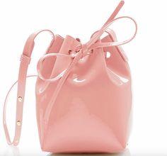 Mini Mini Bucket Bag by Mansur Gavriel Pink Handbags, Purses And Handbags, Visual Kei, Creepy, Grunge, Red Shoulder Bags, Shoulder Strap, Patent Leather Handbags, Punk