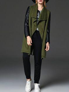 #StyleWe Shop LILITH A PARIS Vests - Green Paneled Shift Casual Vest online. Discover unique designers fashion at AdoreWe.net.