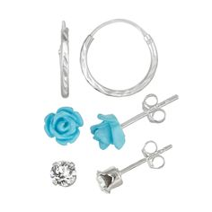 Charming Kids Sterling Silver Crystal Flower Hoop Earring Set Blue