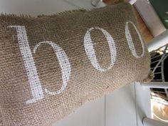 Halloween burlap pillow, burlap pillow, boo pillow, shabby chic, farmhouse decor, cottage style pillow,, holiday pillow, halloween. $18.00, via Etsy.