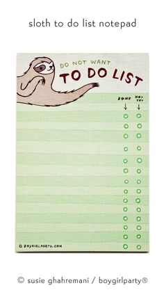 Sloth TO DO LIST notepad — funny gifts — sloth gifts – Do not want to do list note pad – sloth notepad – funny notepad Funny coworker gift Faultier TO DO LIST Faultier Geschenk lustige von boygirlparty Cute Sloth, Funny Sloth, Employee Gifts, Green Gifts, Gifts For Coworkers, Make You Smile, Funny Gifts, How To Plan, Sloth Stuff