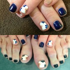 What a great transition into Fall with this hand painted floral Gelish manicure and pedicure design by Kariann! #fallnailcolor
