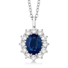 14k Gold 3.60ct Oval Sapphire & Diamond Pendant Necklace