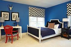 Jill Sorensen - modern - bedroom -  - by Jill Sorensen - Red chair in navy room, chevron