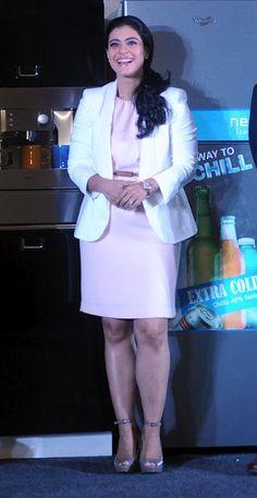 Kajol Mukherjee in White Short Skirt with Grey Pumps, Kajol Latest Pictures 2012