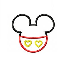 Mickey Mister Mouse Heart Valentine Applique Digital Instant Download