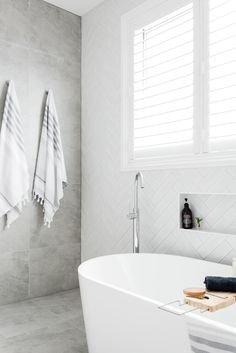 Walls: Opal White layed in Herringbone & Walls Bavaria Stone in Ice Bathroom Trends, Bathroom Interior, Home Interior, Interior Design Living Room, Bathroom Designs, Bathroom Inspo, Boho Bathroom, Bathroom Wall, Master Bathroom