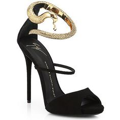 Giuseppe Zanotti Black suede snake strap sandal
