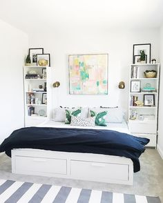 :: brimnes daybed :: ikea brimnes :: guest room :: abstract art :: black, grey, white, gold, green :: palm prints pillows :: L S I N T E R I O R S (@lindsaysaccullointeriors) • Instagram photos and videos