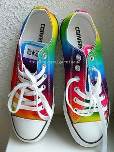 #rainbow converse wedding shoes... Wedding ideas for brides, grooms, parents & planners ... https://itunes.apple.com/us/app/the-gold-wedding-planner/id498112599?ls=1=8 … plus how to organise an entire wedding, without overspending ♥ The Gold Wedding Planner iPhone App ♥