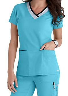 Grey's Anatomy Color Block V-neck Scrub Tops Cute Nursing Scrubs, Cute Scrubs, Scrubs Uniform, Scrubs Outfit, Black Scrubs, Greys Anatomy Scrubs, Work Uniforms, Medical Scrubs, Work Tops
