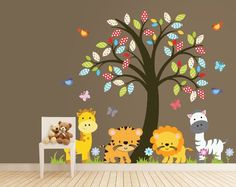 Amazon.com: Zoo Animals - Nursery Tree Vinilos decorativos - Animales de la selva Tatuaje: Bebé