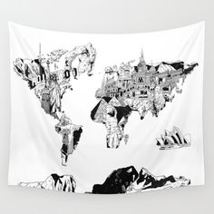 Buy the world map by mike koubou as a high quality wall tapestry world map black and white wall tapestry gumiabroncs Choice Image