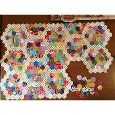 More hexies add....EPP by Lisa Egan.  like the polka dot path!