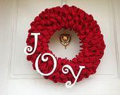 Red Burlap Christmas Wreath with White Joy, Holiday Decor, Winter Decoration