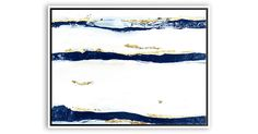 Echoing the gorgeous striations found in natural rock formations, this abstract work in blue and white makes a stunning statement on the wall. This fine print of the original by Jennifer Latimer is...