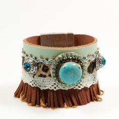 Bracelet with turqoise and Swarovski with fringe by Catena Sieraden #western #jewelry