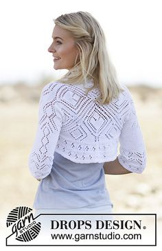 "Kamelia - DROPS square knitted bolero with lace pattern in ""Safran"". - Free pattern by DROPS Design Shrug Knitting Pattern, Knit Cardigan Pattern, Knit Shrug, Knitting Patterns Free, Knit Patterns, Free Knitting, Knit Dress, Free Pattern, Knitting Needles"