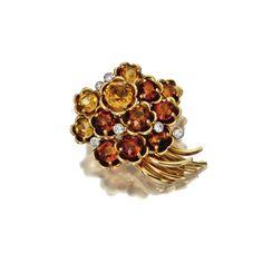 18 karat gold, citrine quartz and diamond flower brooch, Cartier, London, circa 1945 | lot | Sotheby's