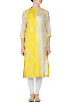 Ivory and yellow block printed tunic