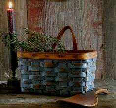ebay. http://myworld.ebay.com/yesterdaysdays  Tabletop To Wall Primitive Basket In Early Blue