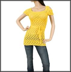 Yellow Crochet Knit Exposed Shoulder Cap Sleeve Belted Zig Zag Tunic Top Small S | eBay $13.99