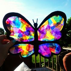 Wax paper, black construction paper, glue, and colored tissue paper! Cut out different outlines and make colorful suncatchers!
