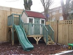 Playhouse with platform and slide (PC120221) - tree house, playhouses outdoor, garden playhouse, children's play house, outdoor wendy house, wooden playhouse #gardenplayhouse