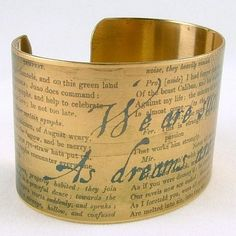 Shakespeare's The Tempest brass cuff. $35