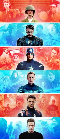 The Evolution of Steve Rogers. His costume reflects the changing times. But his face, it gets older and harder as the films progress and as he faces harder, darker, and more personal issues.