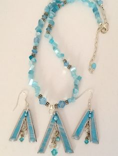 Teepees in Light Blue and Silver with dangles, Artist's Pattern,sold in set by MartinArtandBeads on Etsy