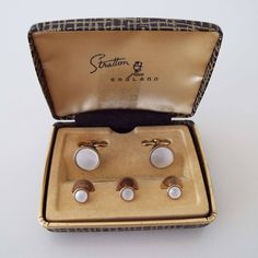 """Vintage 1960's Stratton """"Imitation"""" Mother Of Pearl Cufflinks & Shirt Studs With Box Formal Dress Wear Suit Accessory by VintageBlackCatz on Etsy"""