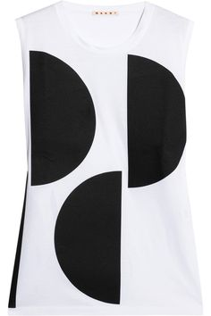 Marni Sleeveless cotton and twill T-shirt NET-A-PORTER.COM