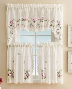 Embroidered Floral Rose Cafe Curtain Set from Collections Etc.