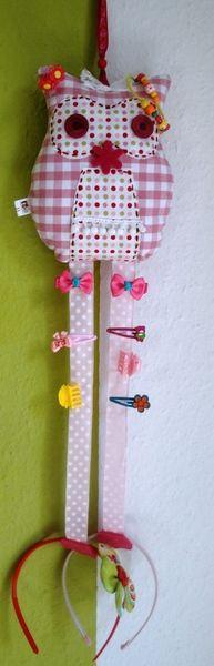 Haarspangenhalter - Aufbewahrung für Haarspangen Eule Pink - ein Designerstück von PetiteNumi bei DaWanda
