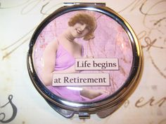 RETIREMENT Compact Mirror with Retro Woman by RubysRibbonsandBows on Etsy.
