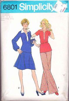 70s Women 2-Piece Dress Pullover Top Skirt Pants Sewing Pattern Simplicity 6801 Miss 6-8