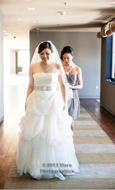 """Vera Wang Isabella raw silk organza gown.  I'm 5'3"""" and wore 4"""" heels.  Dress has been professionally cleaned. Comes with two sashes (silver and dark grey) and veil.  $1400"""